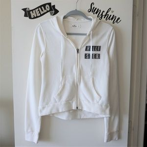 Hollister White Zip Up Long Sleeve Soft Hoodie S